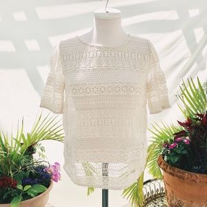 H&M trend OFF WHITE LACE TOP